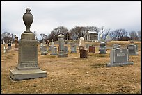 Tombstones in open cemetery space. Salem, Massachussets, USA