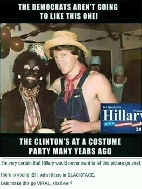 Hillary in black face