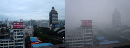 Pollution in China - Left after rain and right regularly